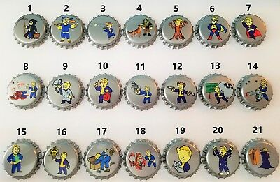 You Choose 10 Fallout Unofficial Vault Tec Perks Bottle Caps Quality Made!