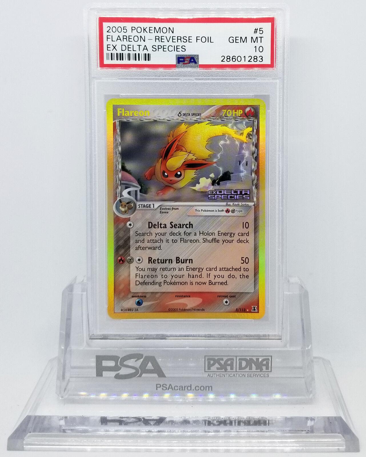 Pokemon EX DELTA SPECIES FLAREON REVERSE REVERSE REVERSE HOLO FOIL CARD PSA 10 GEM MINT  4a75c4