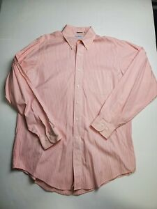 Brooks Brothers Cotton Red Striped Button Down Dress Shirt Men's Size 16-34/35