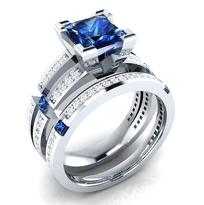 925 Silver Fashion Princess Cut Blue Sapphire Women Wedding 2pc Ring Size 6-10