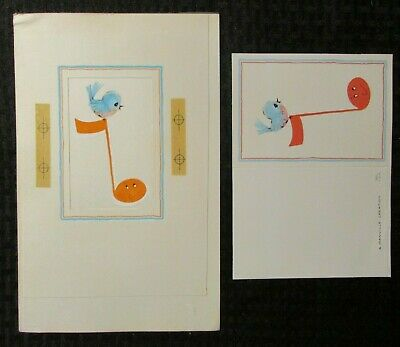 "Other Original Comic Art Collectibles Blue Bird W/ Music Note 6.5x10"" #5904 Greeting Card Art W/ 1 Card Cheap Sales 50%"