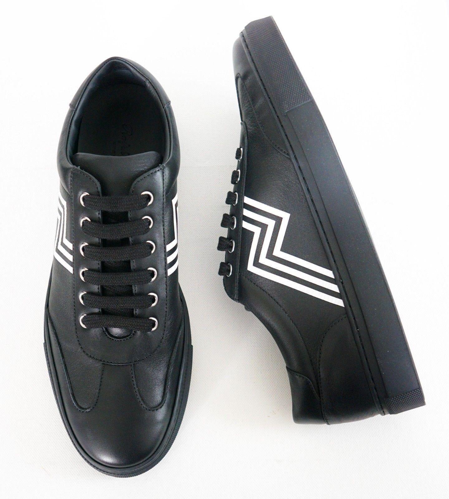 RALPH LAUREN PURPLE LABEL Black Leather LOW-TOP Fashion Sneakers EUR-43 US-10