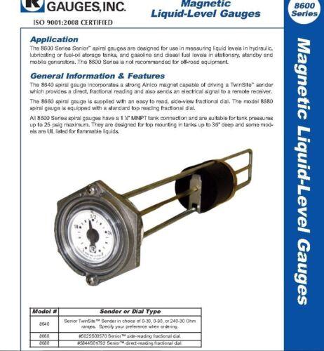 """Rochester 8680 Series Flat Dial Vertical Spiral Fuel Level Gauge x 8.5/"""""""