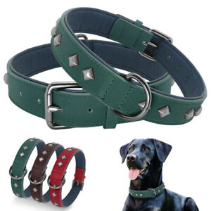 Luxury-Studded-Leather-Medium-Large-Dog-Collars-Soft-Padded-D-ring-Rottweiler