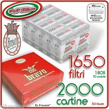 1650 Filtri POP FILTERS SLIM 6mm RUVIDI no rizla + 2000 Cartine BRAVO REX CORTE