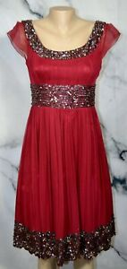 ADRIANNA PAPELL EVENING Red Silk Dress 6 Sheer Cap Sleeves Beaded Sequined Trim