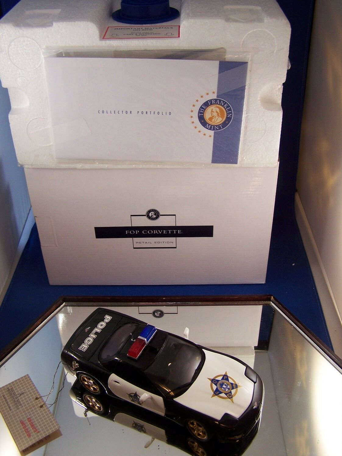 FRANKLIN MINT CHEVROLET CORVETTE POLICE CRUISER MINT WITH BOX AND PAPERS LTD