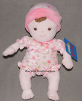 Sassy Grin Grow Soft Baby Doll Pink Rose Suit Hat Rattle Brown Stuffed Toy Girl