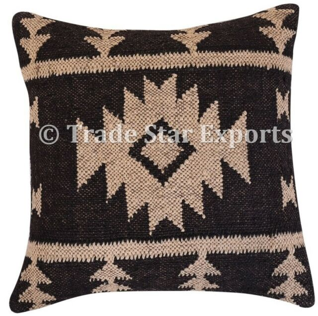 Indian Vintage Kilim Cushion Cover 18x18 Decorative Hand Woven Rug Pillow Cases