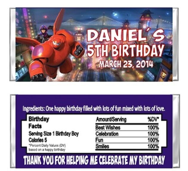 Big Hero 6 Birthday Party Candy Wrappers Favors Personalized Custom For Sale Online