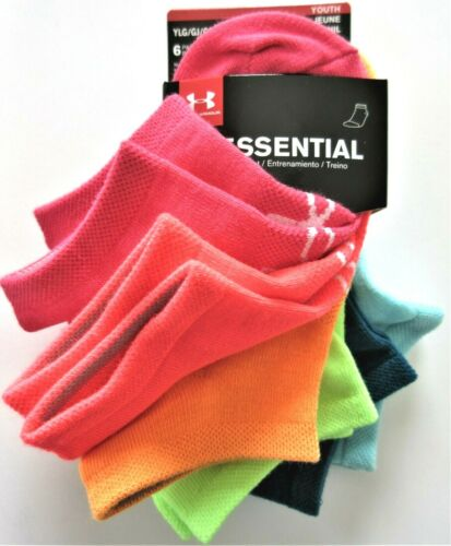 NWT 1-4 Under Armour Essential Girls No Show Assorted Color Socks6 PR Youth L