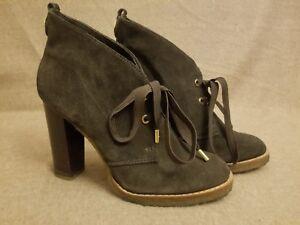 97dc1f0f447 Tory Burch Hilary Women Brown Suede Chukka Booties Ankle High Heel ...