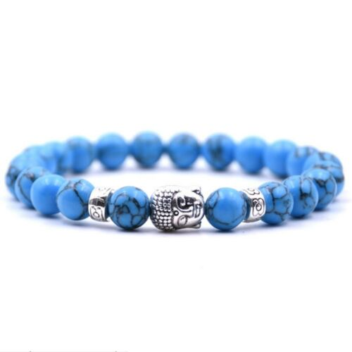Blue Turquoise Buddha Cross Owl Skull Beaded Elastic Yoga Men Healing Bracelets