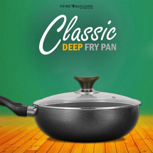New Aluminium Frying Pan Non Stick Dishwasher Safe With Glass Lid Black 28cm UK