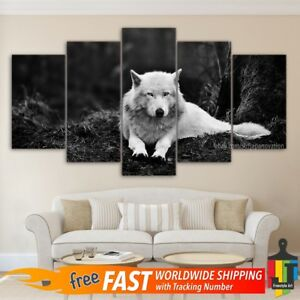 Details About 5 Piece Home Decor Canvas Print Animal Wall Art Abstract Wild Black White Wolf