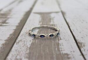 Women-039-s-14K-White-Gold-Vintage-Milgrain-Blue-Sapphire-Diamond-Wedding-Band-Ring