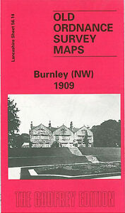OLD ORDNANCE SURVEY MAP BURNLEY NW 1909 OLD HALL STREET BISHOP HOUSE MILL