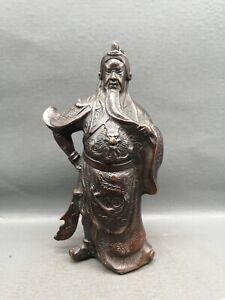 Collect Fengshui Decor copper Warrior Guan Gong Guan Yu Hold Sword dragon Statue