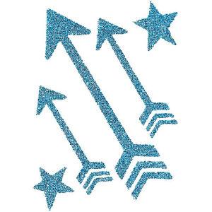 Sugar glittered temporary tattoos sparkling blue arrows for Sparkling star tattoo