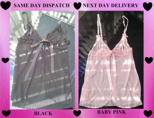 Ann Summers Beautiful Sheer Black or Baby Pink Fifi Love Peep Hole Babydoll