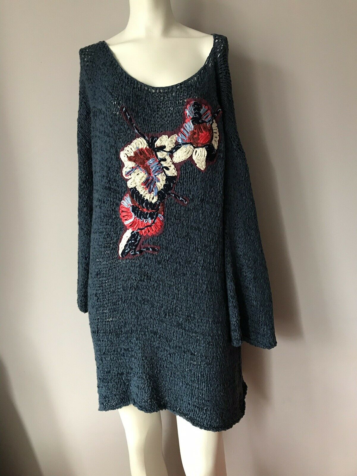 Save The Queen Knit Sweater Kleid Floral Turquoise Bell Sleeve S