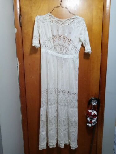 Antique Edwardian Cotton And Lace Ladies Dress