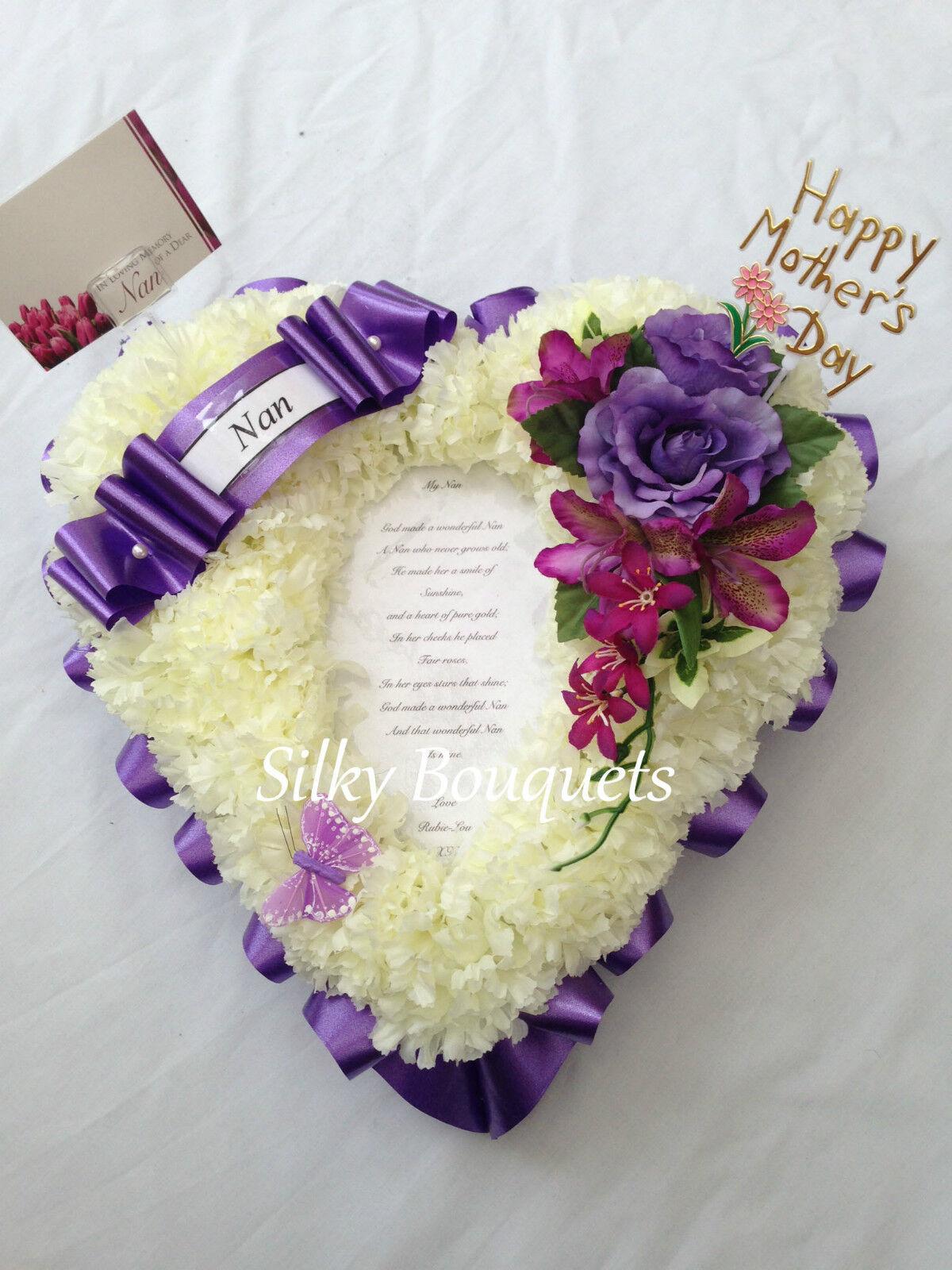 Details about Artificial Silk Funeral Flower Poem Heart Photo Tribute Mum  Nan Memorial Faux