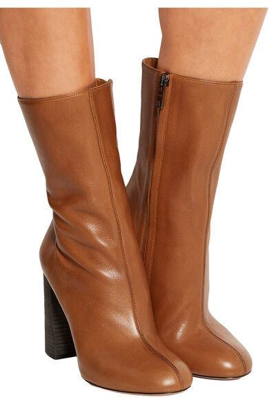 supporto al dettaglio all'ingrosso Chloe Chunky Heel Midcalf Cognac Leather Zipper Zipper Zipper avvio  Runway avvioie 39.5- 9  incentivi promozionali
