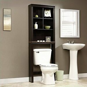 Details About Over The Toilet Cabinet Bathroom Storage Wood Space Saver  Shelf Organizer Brown