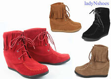 NEW Women's Causal Lace Up Fringe Wedge Sneaker Booties Shoes Size
