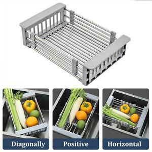 Stainless-Steel-Dish-Drying-Rack-Telescopic-Drain-Basket-Kitchen-Food-Organizer
