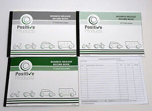 business mileage record log book pad hmrc compliant singles two part