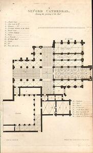 1814 Georgiano Datato Stampa ~ Oxford Cathedral Floorplan Cahpter Casa Ecc.