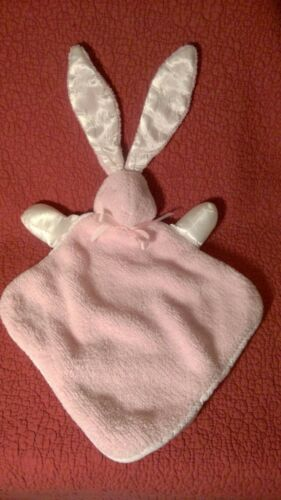 "10"" square PINK BUNNY RABBIT baby SECURITY BLANKET white satin ears arms plush"