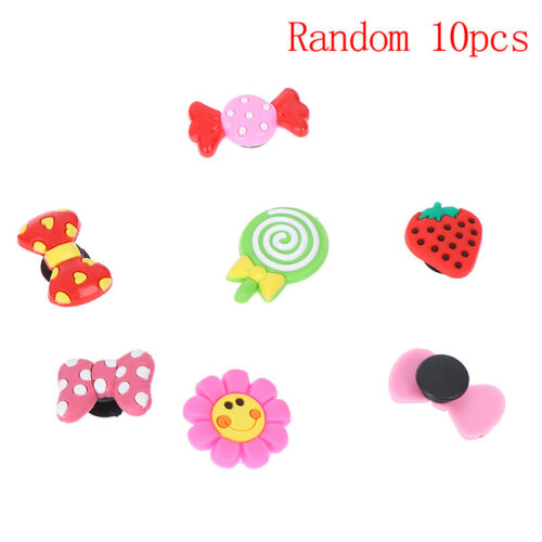 5pcs Lovely Strawberry Bowknot PVC Shoe Charms Shoe Buckles Shoes Accessories HU