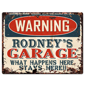 PPFG0111-WARNING-RODNEY-039-S-GARAGE-Tin-Chic-Sign-Home-man-cave-Decor-Funny-Gift
