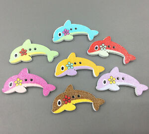 100pcs Cartoon dolphin shape Wooden sewing buttons scrapbooking Crafts 30mm