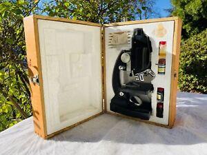 Sears Power 50 -1200x Zoom Scientific Microscope in Wooden Box