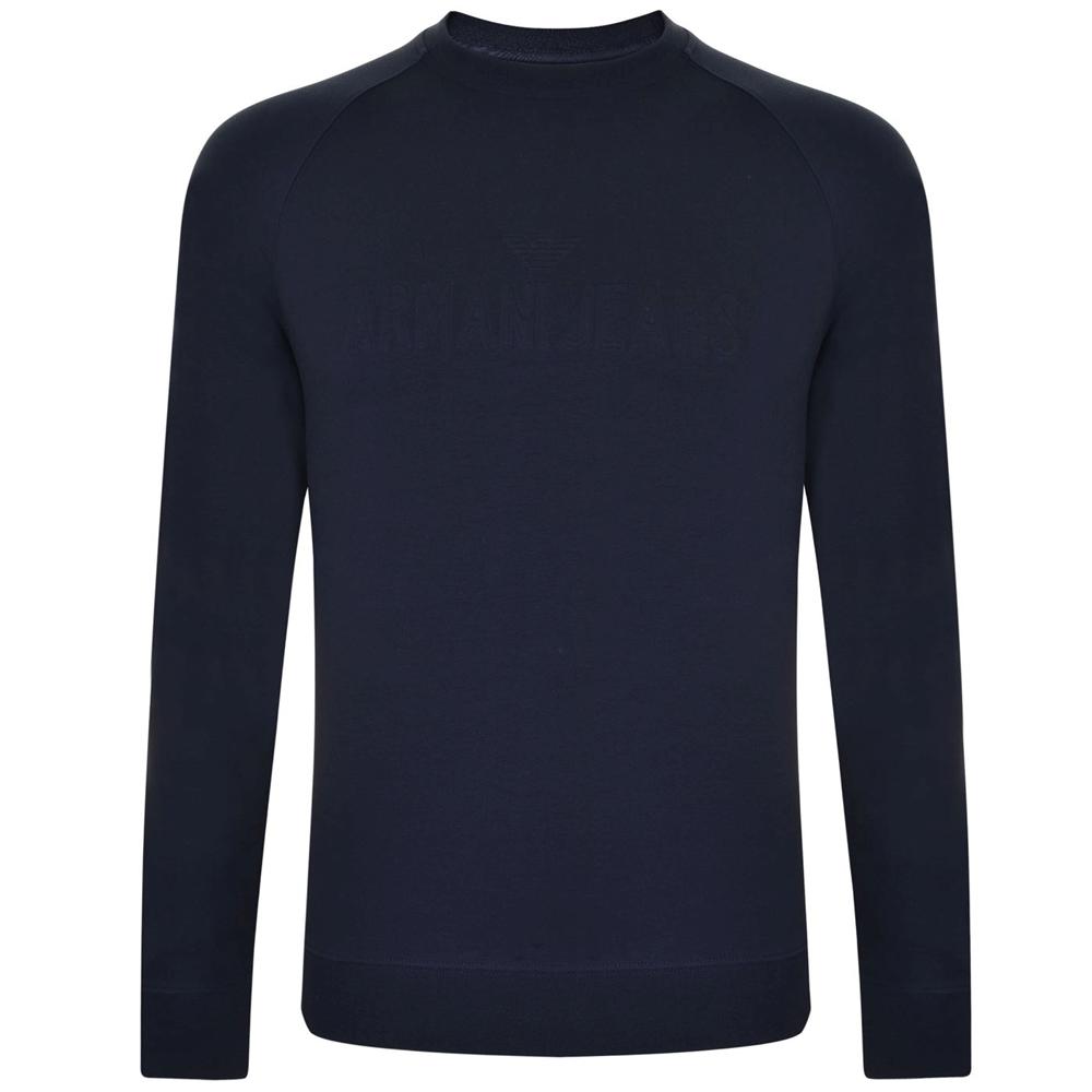 Armani Jeans Herren Logo Marineblau Pullover Alle Größen Neu mit Etikett
