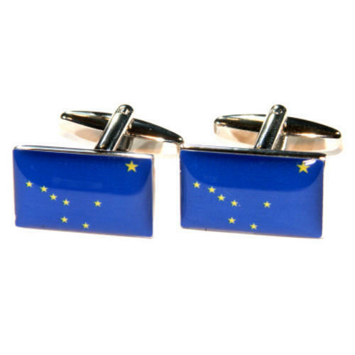Blue & Yellow Alaska Us American State Flag Cufflinks With Gift Pouch Present