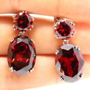 Gorgeous-Red-Ruby-Earrings-Drop-Dangle-Women-Engagement-Jewelry-14K-White-Plated