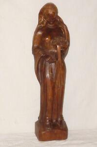 Vecchio Intagliato Statua Figura di Legno Santo Madonna 59cm