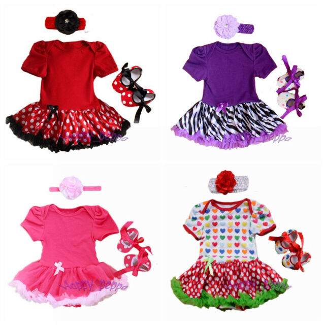 3pcs Newborn Infant Baby Girl Headband+Romper+Shoes Outfit Clothes