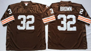 Jim-Brown-Cleveland-Browns-32-stitched-jersey-white-brown-men-039-s-player-game
