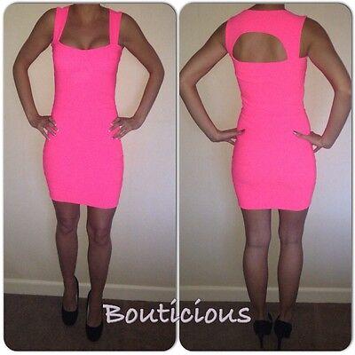 Womens Summer Mini Neon Pink Bodycon Bandage Dress *Brand New* Size 8