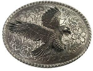 Vintage-Chauve-Aigle-Boucle-Ceinture-Tete-Oiseau-Hawk-Etain-USA-Bec-Animal