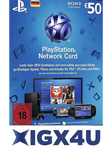 PSN Playstation Network Card Key 50€ 50 EUR EURO Prepaid Card - PS3 PS4 PSP - DE