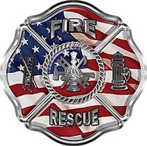 Reflective fireman Sticker FDNY Shield American Flag