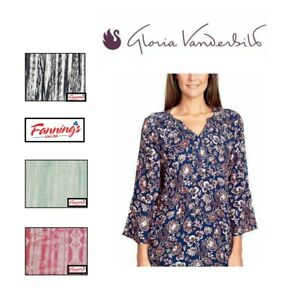 NEW-Women-039-s-Paint-Flow-GLORIA-VANDERBILT-Nova-Flutter-Sleeve-Blouse-VARIETY-A45