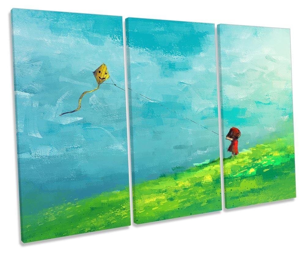 rot Girl Gelb Kite Field Framed TREBLE CANVAS PRINT Wall Art